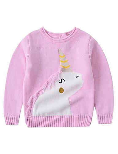 赤ちゃん 女の子 ベーシック 日常 ソリッド 長袖 コットン セーター&カーデガン ピンク / 幼児