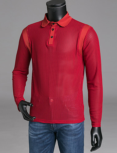 82eb53355841 Men's Daily Weekend Basic Polo - Solid Colored Mesh Shirt Collar Black L / Long  Sleeve