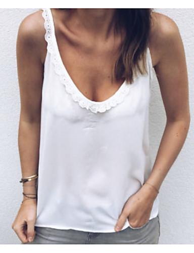 abordables Hauts pour Femmes-Débardeur Grandes Tailles Femme, Couleur Pleine Col en V Ample Blanche