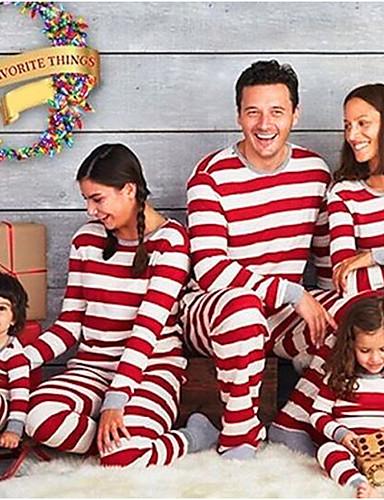 Sguardo Di Famiglia Essenziale Natale - Quotidiano A Strisce Manica Lunga Poliestere Completo Rosso #07003290