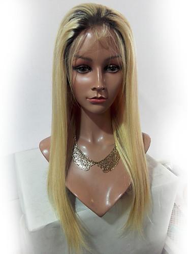 billige Blondeparykker med menneskehår-Ubehandlet hår Remy Menneskehår Blonde Forside Parykk Lagvis frisyre Midtdel Side del Gaga stil Brasiliansk hår Naturlig rett Silke Rett Blond Parykk 130% Hair Tetthet Myk Naturlig Naturlig hårlinje