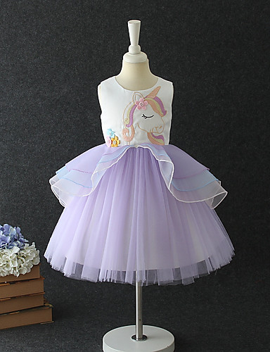 acac10d2854af A-Line / Princess Medium Length / Midi Flower Girl Dress - Cotton / Organza  / Tulle Sleeveless Jewel Neck with Pattern / Print / Tiered by LAN TING  Express