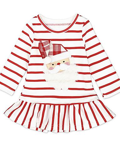 赤ちゃん 女の子 活発的 クリスマス ストライプ 長袖 膝丈 ドレス ホワイト / 幼児