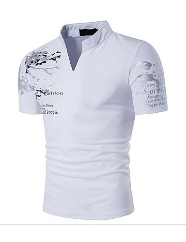 abordables Camisetas y Tops de Hombre-Hombre Activo / Boho Deportes Estampado - Algodón Camiseta, Escote Chino Delgado Negro L / Manga Corta / Verano