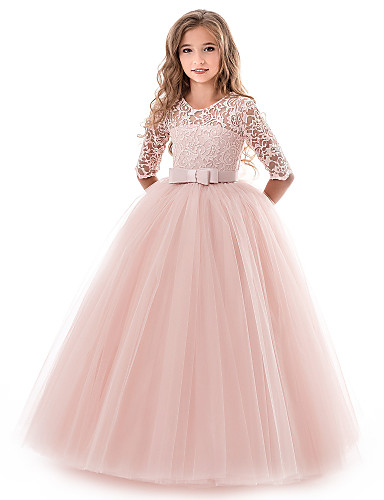 91205e01f20843 Princess Long Length Flower Girl Dress - Lace / Tulle Half Sleeve Jewel  Neck with Lace / Belt by LAN TING Express