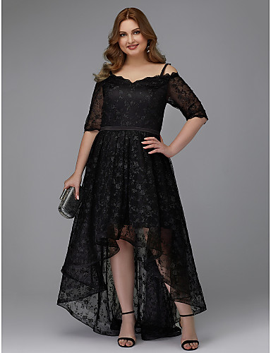 b234eacaa40 Plus Size A-Line Spaghetti Strap Asymmetrical Lace Cocktail Party   Prom  Dress with Appliques   Lace Insert by TS Couture®