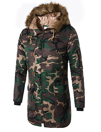 cheap Fur Trims-Men's Daily / Weekend Military Camouflage Long Padded, Cotton / Polyester Long Sleeve Winter Hooded Army Green / Blue XXXL / 4XL / XXXXXL
