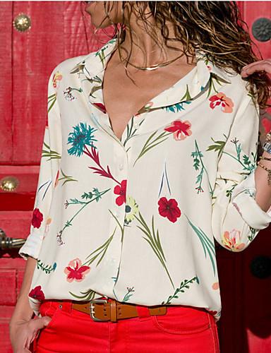 Majica Žene - Osnovni Dnevno Cvjetni print V izrez Navy Plava