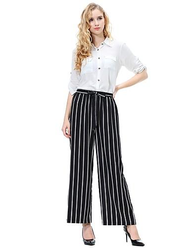 abordables Pantalons Femme-Femme Basique Quotidien Ample Ample Pantalon - Bloc de Couleur Bleu & blanc / Noir & Blanc, Noeud Bleu Noir M L XL
