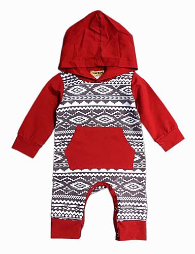 赤ちゃん 女の子 ベーシック ソリッド 長袖 コットン オーバーオール&ジャンプスーツ ルビーレッド / 幼児