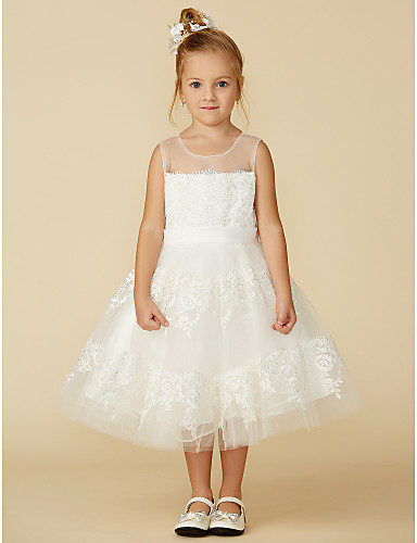 6663c3772919 A-Line Tea Length Flower Girl Dress - Lace Sleeveless Jewel Neck with Lace    Sash   Ribbon by LAN TING BRIDE®