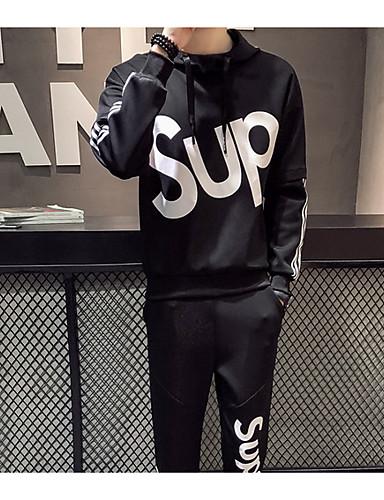 cheap Men's Slogan & Letter Print Hoodies-Men's Long Sleeve Hoodie - Solid Colored Hooded Black XL