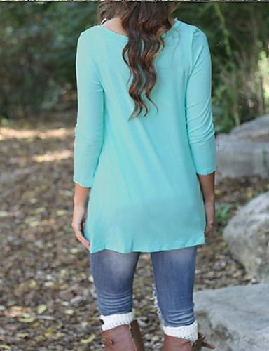 billige Dametopper-Bomull T-skjorte Dame - Ensfarget Grunnleggende Rosa