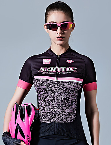 cheap Cycling Clothing-SANTIC Women's Short Sleeve Cycling Jersey - Black / Pink Bike Jersey Top Breathable Sweat-wicking Sports 100% Polyester Mountain Bike MTB Road Bike Cycling Clothing Apparel / Stretchy / Advanced