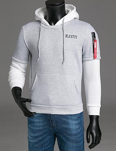 cheap Men's Clothing-Men's Long Sleeve Hoodie - Letter Hooded Black XXL