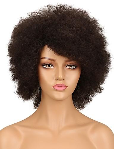 billige Blondeparykker med menneskehår-Remy Menneskehår Helblonde Blonde Forside Parykk Asymmetrisk frisyre Rihanna stil Brasiliansk hår Afro Kinky Svart Parykk 130% 150% Hair Tetthet Stilig Design Dame Naturlig Beste kvalitet Hot Salg