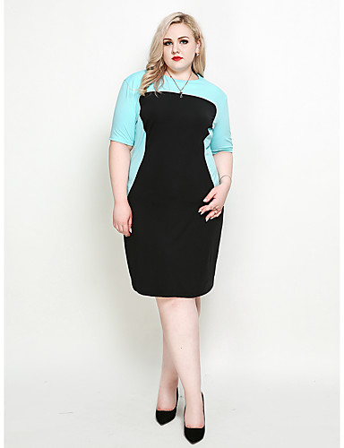 ebaacf3e7c626 Women s Plus Size Daily Holiday Sophisticated Elegant Shift Sheath Dress - Color  Block Spring Black XXXXL XXXXXL XXXXXXL