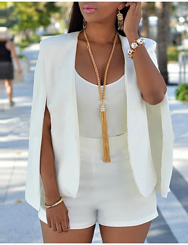 hesapli Kadın Blazerları ve Ceketleri-Kadın's Çalışma Normal Blazer, Solid Çentik Yaka Uzun Kollu Polyester Beyaz / Siyah M / L / XL