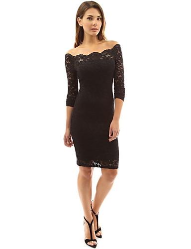 Eng anliegend Schulterfrei Kurz / Mini / Knie-Länge Spitze Cocktailparty Kleid mit durch LAN TING Express / Transparente