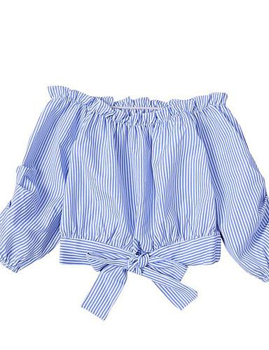 赤ちゃん 女の子 ベーシック ストライプ 長袖 シャツ ライトブルー / 幼児