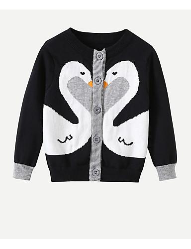 子供 女の子 ストリートファッション プリント 長袖 レギュラー ポリエステル セーター&カーデガン ブラック