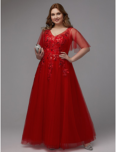 72b6e439ca7a Plus Size A-Line V Neck Floor Length Lace / Tulle Sparkle & Shine Prom Dress  with Sequin / Appliques by TS Couture®
