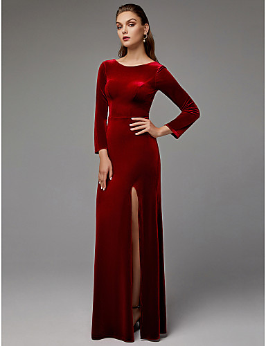 b47a5318954d Ίσια Γραμμή Με Κόσμημα Μακρύ Βελούδο Επίσημο Βραδινό Φόρεμα με Με Άνοιγμα  Μπροστά με TS Couture®