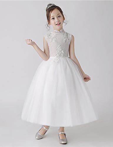 5828b7b136 Princesa Hasta el Suelo Vestido de Niña Florista - Poliéster Sin Mangas  Cuello Alto con Encaje por LAN TING Express