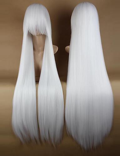 voordelige Cosplay Pruiken-Synthetische pruiken / Kostuum pruiken Recht Kardashian Stijl Met pony Zonder kap Pruik Wit Wit Synthetisch haar 34 inch(es) Dames Feest / Zijdeel Wit Pruik Erg lang
