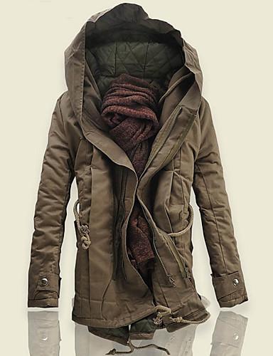 cheap Men's Downs & Parkas-Men's Daily Street chic Solid Colored Plus Size Long Parka, Polyester Long Sleeve Winter Hooded Black / Army Green XXXXL / XXXXXL / XXXXXXL