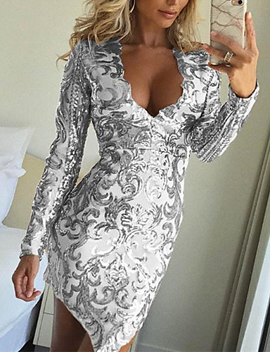 Women s 2019 New Year   Club   Party   Cocktail Sexy Slim Bodycon Dress -  Solid Colored Sequins Deep V Gold Silver M L XL 023df6a12f83