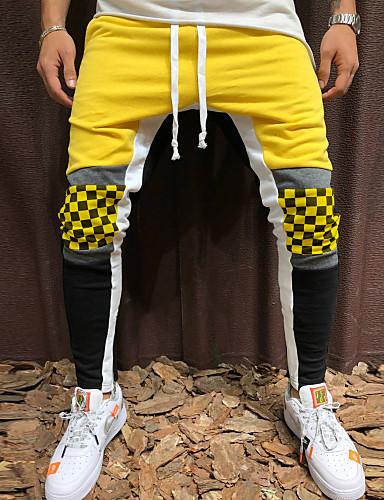 Muškarci Sportski / Aktivan / Osnovni Dnevno Sportske hlače Hlače - Color block Pamuk Proljeće Jesen Red Bijela Vojska Green XL XXL XXXL