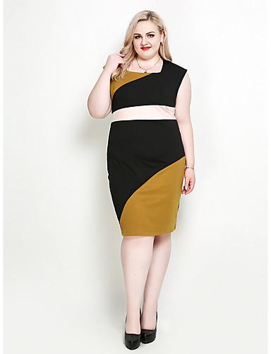 a465f3a0db8ba Women s Plus Size Daily Holiday Street chic Sophisticated Bodycon Shift  Sheath Dress - Color Block Square Neck Spring Black XXXXL XXXXXL XXXXXXL