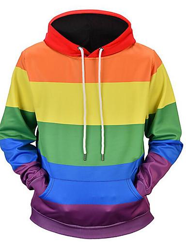 cheap Basic Hoodie Sweatshirts-Men's Basic Long Sleeve Loose Hoodie - Striped Hooded Rainbow XL