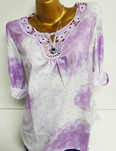 abordables Hauts pour Femmes-Chemise Grandes Tailles Femme, Couleur Pleine / Points Polka / Géométrique Basique Rose Claire