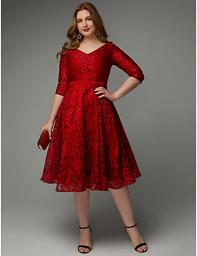 d5329e5c0fc Plus Size A-Line V Neck Knee Length Lace Cocktail Party Dress with Sash    Ribbon by TS Couture®