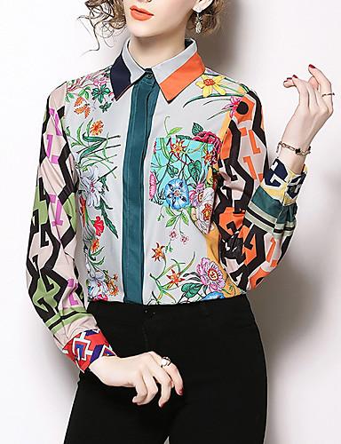 billige Topper til damer-Bomull Skjortekrage Skjorte Dame - Blomstret Grunnleggende Grønn M