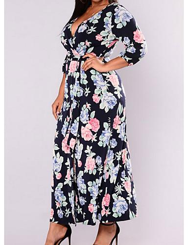 女性用 スウィング ドレス - プリント アシメントリー