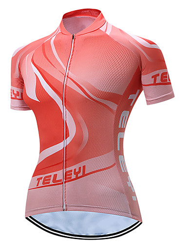 TELEYI Women s Short Sleeve Cycling Jersey - Orange Reactive Print Tree Bike  Jersey Breathable Quick Dry Sports Polyester Mountain Bike MTB Road Bike ... 8558bdb73