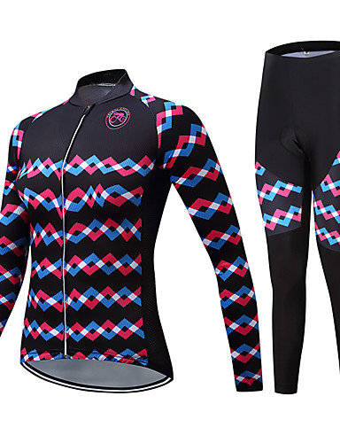cheap Cycling Clothing-TELEYI Women's Long Sleeve Cycling Jersey with Tights - Black Bike Clothing Suit Fleece Lining Breathable Winter Sports Polyester Scales Mountain Bike MTB Road Bike Cycling Clothing Apparel