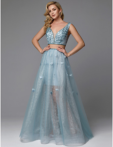 9212c0156251 Two Piece Plunging Neck Floor Length Organza Sparkle & Shine / Two Piece  Prom Dress with Beading / Ruched by TS Couture®