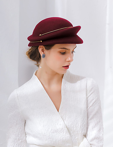 d721aa91191 Elizabeth The Marvelous Mrs. Maisel Women s Adults  Ladies Retro   Vintage  Cloche Hat Hat Brown   Pink   Red Solid Colored Vintage Wool Headwear  Lolita ...