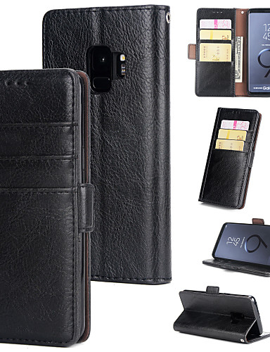 Θήκη Za Samsung Galaxy S9 Novčanik / Utor za kartice / Zaokret Stražnja maska Jednobojni Tvrdo PU koža