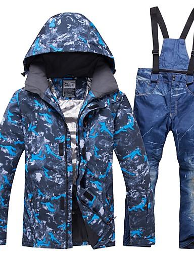 billige Ski og snowboard-RIVIYELE Herre Skijakke og bukser Vindtett Varm Pusteevne Vintersport Bomull POLY Denimstoff Klessett Skiklær