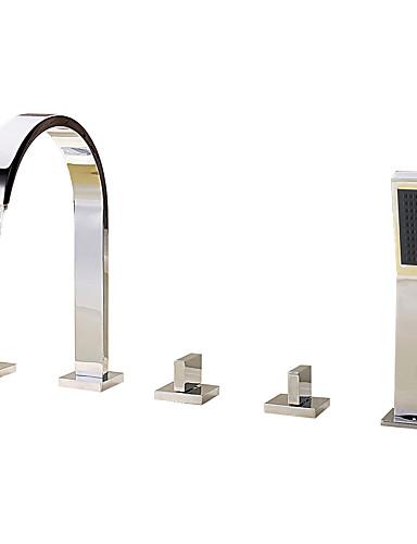 billige Sidesray-Badekarskran - Moderne Krom Romersk kar Keramisk Ventil Bath Shower Mixer Taps / Messing / Tre Håndtak fem hull