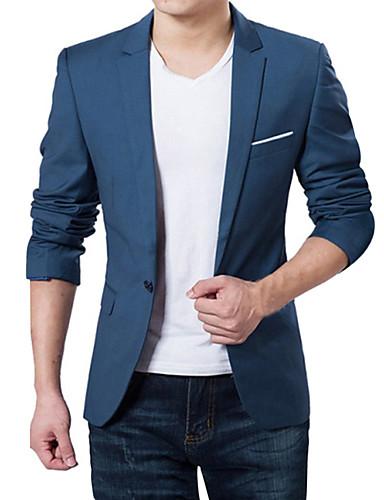 Men's Daily / Work Spring / Fall Plus Size Regular Blazer, Solid Colored V Neck Long Sleeve Acrylic / Polyester Dark Blue / Gray / Wine 4XL / XXXXXL / XXXXXXL / Business Formal / Slim