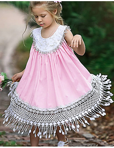 Kids Girls' Sweet Daily Solid Colored Tassel Sleeveless Midi Polyester Dress Pink