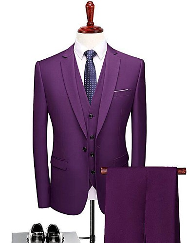 levne Ženich a mládenci-Jednobarevné Na míru Polyester Oblek - Otevřené Jednořadé s jedním knoflíkem / Obleky
