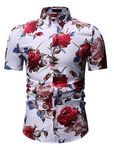 2019 Moda Camicia Per Uomo Serata Lavoro - Essenziale Con Stampe, Fantasia Floreale - Monocolore Colletto Classico Bianco Xl - Manica Corta - Primavera #07045370 Ufficiale 2019