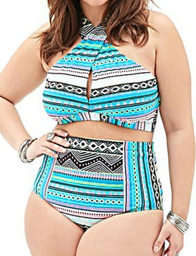 bc10fdbaff1 Women s Plus Size Basic Strap Blue Black Red Wrap Cheeky Tankini Swimwear -  Geometric Print XXL XXXL XXXXL Blue   Sexy